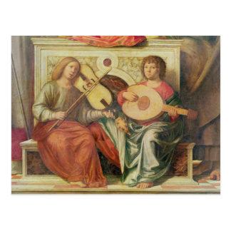 Carte Postale Musiciens d'ange de la peinture de la Vierge et