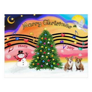 Carte Postale Musique 2 de Noël - corgi de Gallois (Pembroke 2)