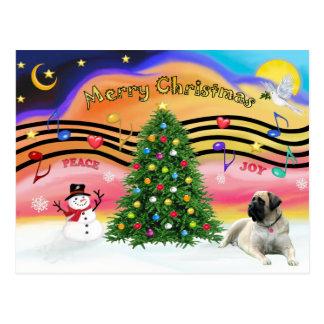 Carte Postale Musique 2 de Noël - mastiff de Taureau
