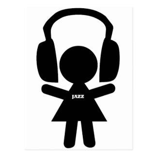 Carte Postale Musique de jazz d'écouteurs