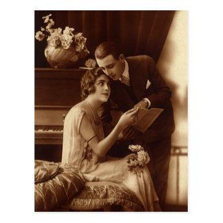 Carte Postale Musique romantique vintage, amants d'histoires