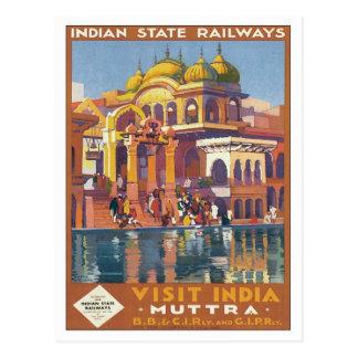 Carte Postale Muttra vintage Mathura Inde