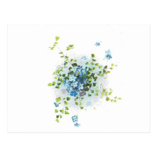 Carte Postale Myosotis des marais vintages bleus