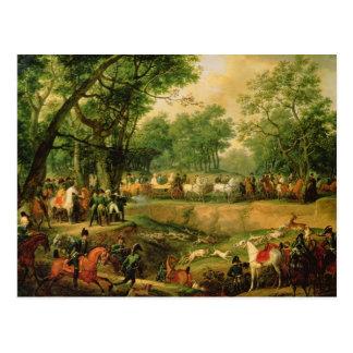 Carte Postale Napoléon sur une chasse dans la forêt de