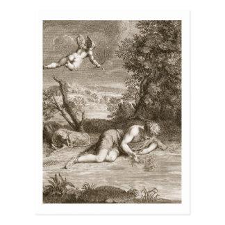 Carte Postale Narcisse transformé en fleur, 1730 (engravi