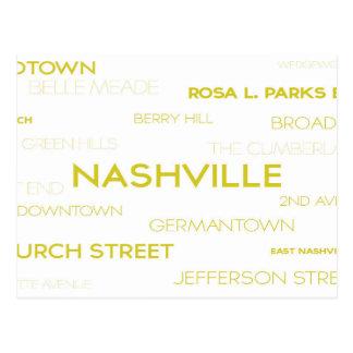 Carte Postale Nashville, voisinages célèbres de TN blancs