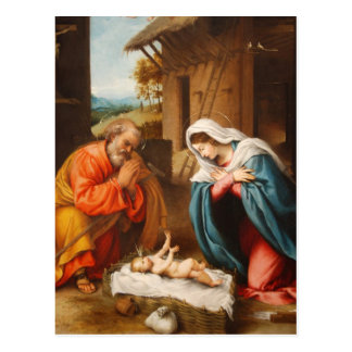 Carte Postale Nativité par Lorenzo Lotto