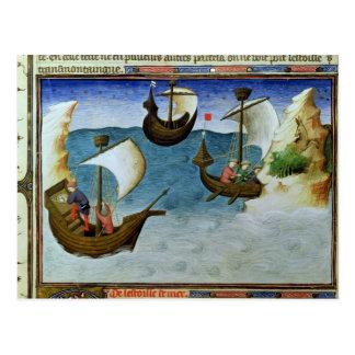 Carte Postale Navigateurs à l'aide d'un astrolabe