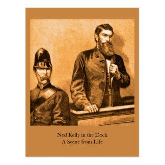 Carte Postale Ned Kelly dans le dock - une scène de la vie