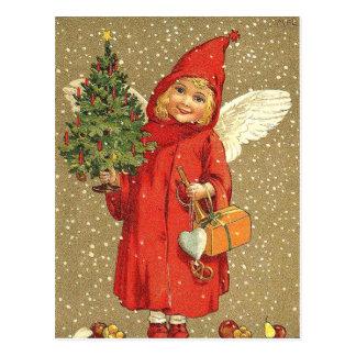 Carte Postale Neige d'arbre de Noël d'ange d'ange