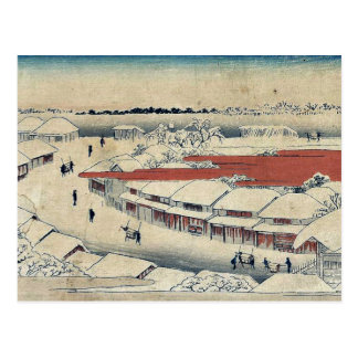 Carte Postale Neige de matin chez Yoshiwara par Ando, Hiroshige