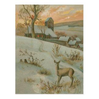 Carte Postale Neige d'église de cerfs communs de champ d'hiver