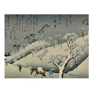 Carte Postale Neige prolongée chez Asukayama par Ando, Hiroshige