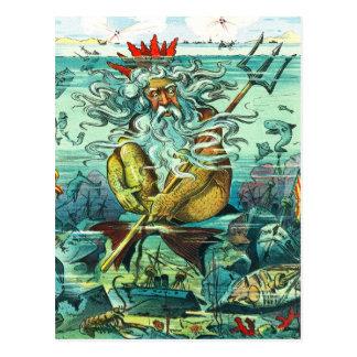 Carte Postale Neptune se reposant parmi les épaves submergées