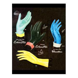 Carte Postale Nettoyage en caoutchouc vintage de gants du kitsch