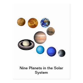Carte Postale Neuf planètes dans le système solaire