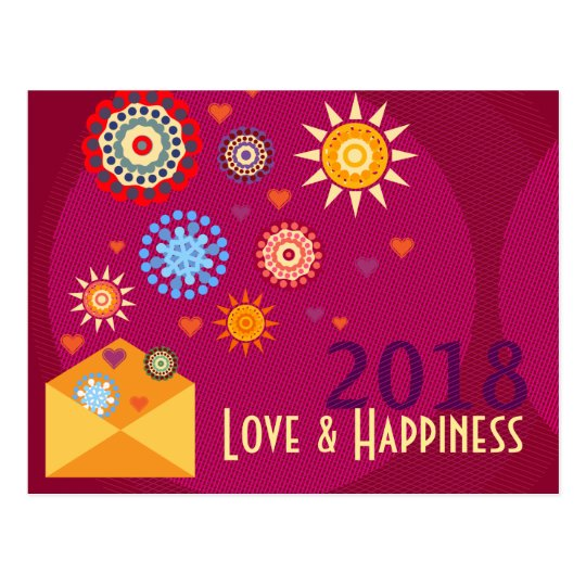 Carte Postale New Year Happiness greeting postcards