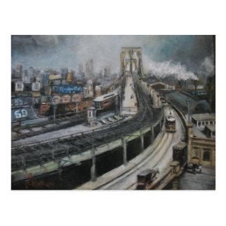 Carte Postale New York City vintage peignant le pont de Brooklyn