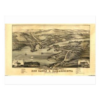 Carte Postale Newcastle et Damariscotta, Maine en 1878