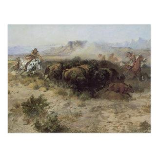 Carte Postale No. 26 de chasse de Buffalo par cm Russell,
