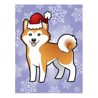 Carte Postale Noël Akita Inu/Shiba Inu