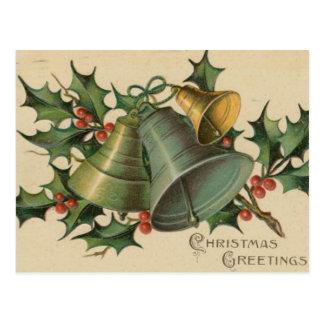 Carte Postale Noël Bells vintage et houx