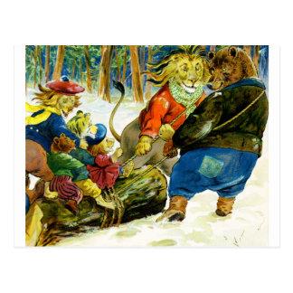 Carte Postale Noël chez la terre animale - le rondin de Noël