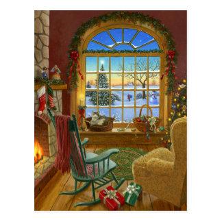 Carte Postale Noël confortable de chat