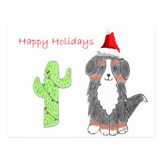 Carte Postale Noël de cactus de chien de montagne de Bernese
