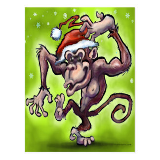 Carte Postale Noël de chimpanzé