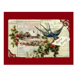 Carte Postale Noël de cru d'hirondelle et de moutons