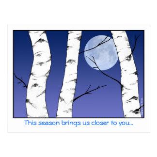 Carte Postale Noël de lune de bouleau