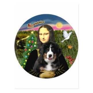 Carte Postale Noël de Mona Lisa - chiot de DM de Bernese