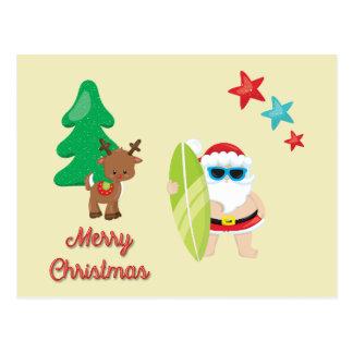 Carte Postale Noël de Père Noël d'été