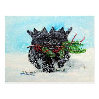 Carte Postale Noël de Terrier de cairn