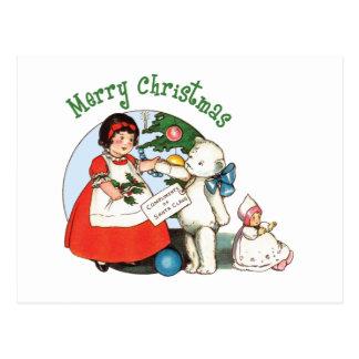 Carte Postale Noël d'ours de nounours Joyeux
