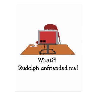 Carte Postale Noël drôle - Père Noël Unfriended par Rudolph