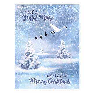 Carte Postale Noël font les oies de neige joyeuses de bruit
