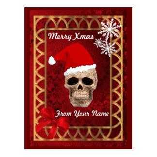 Carte Postale Noël gothique drôle de père Noël de crâne