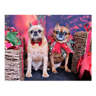 Carte Postale Noël - griffon de Bruxelles - Marv et Marge