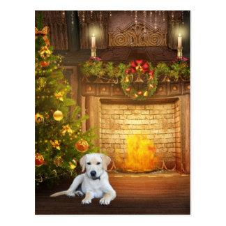 Carte Postale Noël jaune de laboratoire