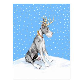 Carte Postale Noël Merle de renne de great dane