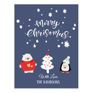 Carte Postale Noël mignon bleu et blanc