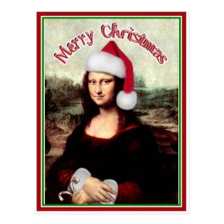 Carte Postale Noël Mona Lisa avec le casquette de Père Noël