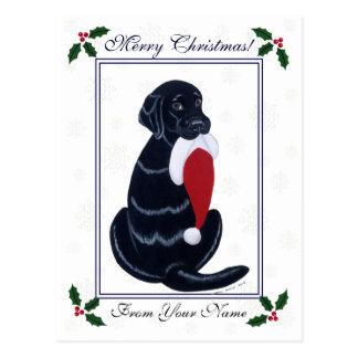 Carte Postale Noël noir de flocon de neige de casquette de