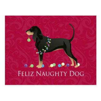 Carte Postale Noël noir et bronzage de Coonhound