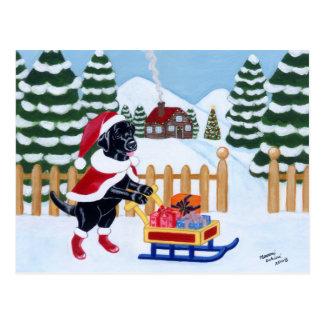 Carte Postale Noël noir Père Noël de Labrador