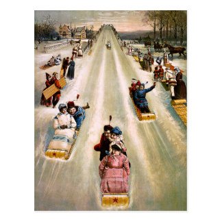Carte Postale Noël Sledding victorien vintage de colline