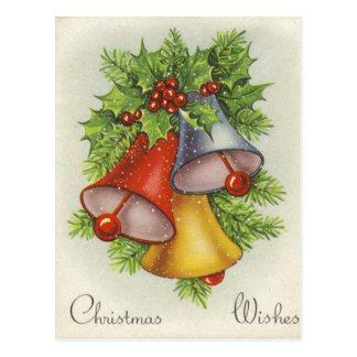 Carte Postale Noël souhaite des tintements du carillon