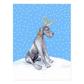 Carte Postale Noël UC bleu de renne de great dane